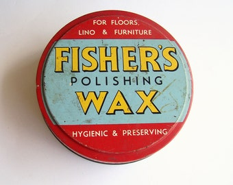 1950s Fisher's Polishing Wax Tin, Collectable Advertising Tin, Bright Colours, Graphic Text