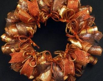 Fall Wreath, Copper Gold Chocolate, Poly Mesh Wreath, Door Wreath, Wreaths for the Door, Item 1179