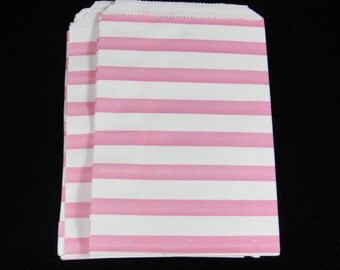 Small Pink Striped Favor Bags, Candy Bags, Bakery Bags, Paper Bags, Birthday Parties, Packaging, Baking Supply, Wedding - Qty 12