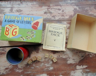 Whitman Publishing BRIDGE DICE Game of Letters complete with original box Made in USA vintage 1940s