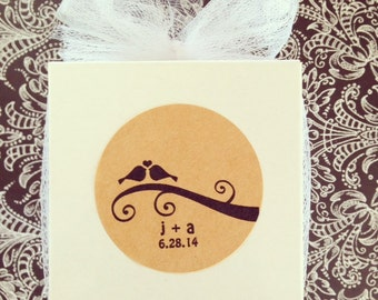 custom kraft wedding love bird stickers--set of 20