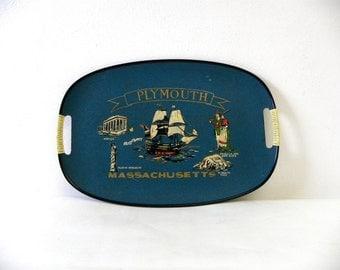 Vintage 1950s Mid-Century Souvenir Plymouth, Massachusetts Tray