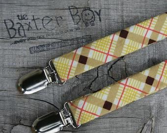 Fall diagonal plaid little boy matching suspenders - photo prop, wedding, ring bearer, accessory