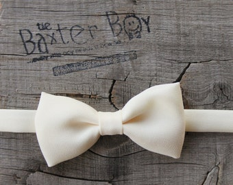 Ivory polyester little boy bow tie - photo prop, wedding, ring bearer, accessory