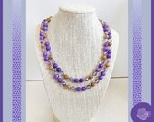 """38"""", Purple Agate, Lilac Czech Crystals AB, Vintage Gold Brass Filigree Necklace to Double or Wear Long, Gold-Plated Pearl Fishhook Clasp"""