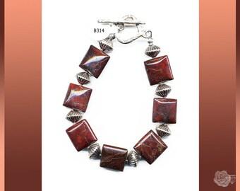 "7.5"" Bracelet Red-Brown Brecciated Jasper Chicklets Sterling Silver Corrugated Bicone Spacers Shiana Hill Tribe Fine Silver Toggle Clasp"