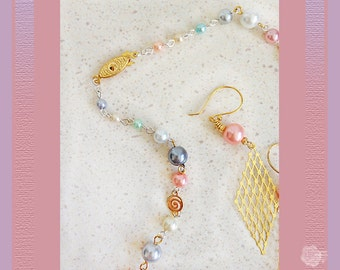 """18"""" Necklace Pastel Pearls Mixed Metal Gold and Silver Bead Chain Gold Swirly Connectors Gold Pearl Clasp And/Or Matching Dangle Earrings"""