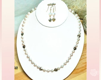 """21"""" Pearl Necklace Pink Blush FreshWater Pearls Sterling Silver Heart Beads and Clasp Single Strand And/Or Matching Sterling Silver Earrings"""