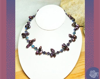"16"" Necklace Exotic Purple Top-Drilled Tadpole Keishi Pearls 8mm Iridescent Purple AB Crystal Bicones Pewter Spacers Magnetic Clasp Choker"