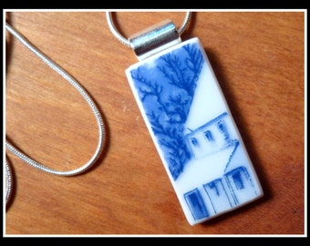 HOME FOR The HOLIDAYS - Recycled Broken China Plate Necklace