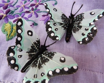 Aqua feather butterfly hairclips