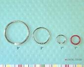 Snap Ring . Mini Washi Tape Ring 3 Inch Book Binder O Rings . Bobbin Ring Silver Bindery Hinges Large Album Planner Floss Storage Scrapbook