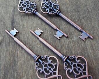 Large Skeleton Key Antiqued Copper 1 piece Steampunk Vintage Style Old Look Wedding Decorations Favors