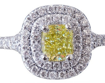 14k white gold cushion cut diamond engagement ring fancy yellow art deco 1.65ctw
