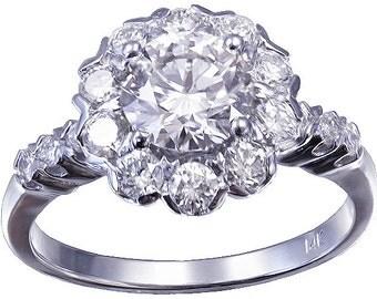 14k white gold round cut diamond engagement ring art deco 1.80ctw h-vs2 egl usa