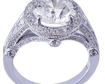 14k white gold round cut diamond engagement ring antique deco style 3.15ctw