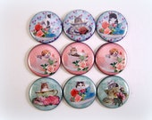 """Cat Pins, Cat Magnets, Teacup Kitten Pins, Teacup Kitten Magnets, 1"""" Inch Flat Back, Hollow Backs, Cabochons, 12 ct"""