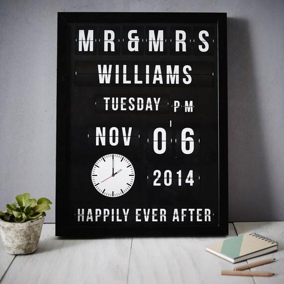 Flip Clock Personalised Wedding Print