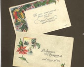 PAIR Vintage Christmas New Year Postcards with Colorful Images and Cheerful Greetings Poinsettia and Gold Horseshoe