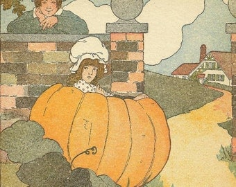 Peter Peter Pumpkin Eater Mother Goose Nursery Rhyme 1919 Vintage Print Blanche Fisher Wright Nursery Art Child's Room