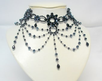 Black Crystal Victorian Beaded Choker Necklace