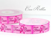 10 yd 7/8 Hot Pink Breast Cancer Awareness Ribbon Find a Cure Grosgrain Ribbon