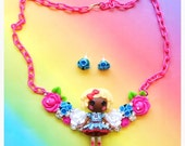 Sale Swarovski Crystal African American Lalaloopsy Doll Bib Necklace and Earring Sets