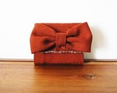 Upcycled Rusty Brown Wool Business Card or Credit Card Holder with Bow