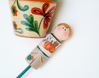 """Plant Stake """"Peg Pals"""" Hand Painted Peg People """"Pumpkin Festival Series""""- Ready to Ship"""
