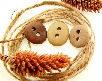 Colorful Buttons, Natural Beach Stone Buttons 3 pcs- Big Stone Connectors Organic for Sewing, Jewelry, Diy Beads Pebbles