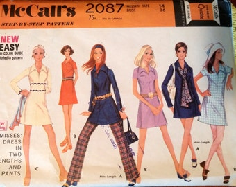 McCall's Pattern 2087 size 14 bust 36 Misses' Dress Pattern in two lengths with pants (P153)