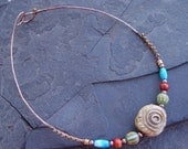 Wire Choker with Tribal Porcelain Focal Bead, African Beads, Mala Bone Beads Necklace