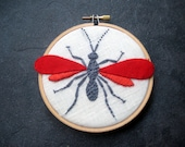 Wasp - hand embroidered home decor hoop art wall wear red orange gray by mlmxoxo