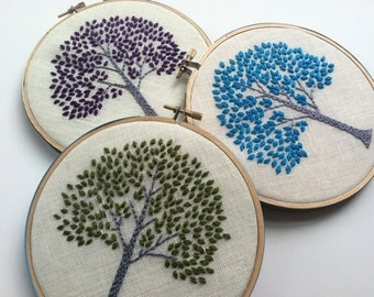 Tree hand embroidered home decor hoop art in green purple aqua citrine orange or magenta by mlmxoxo