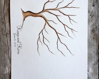 Cherry Tree Wedding Guest Book Tree fingerprint tree hand painted custom