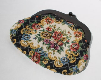 the suzanne purse woven needlepoint small floral black flower tapestry bag pouch plastic clasp