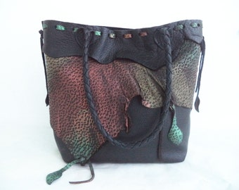 black leather handbag tote with multi colored metallic ruffle embellishment, by Tuscada. Ready to ship.