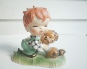 Vintage Red Head 2050 Figurine, Boy with his Dog