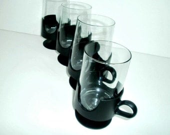 Vintage Corning Glas Snap Coffee Cups Mugs, Set of Four, Serving Ware, Table Ware, Glass Coffee Cup Mug