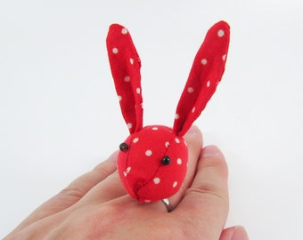 Bunny Ring-Red White Spots