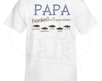 Dad or Grandpa PERSONALIZED fishing shirt - hooked on great catches. Include any name you want