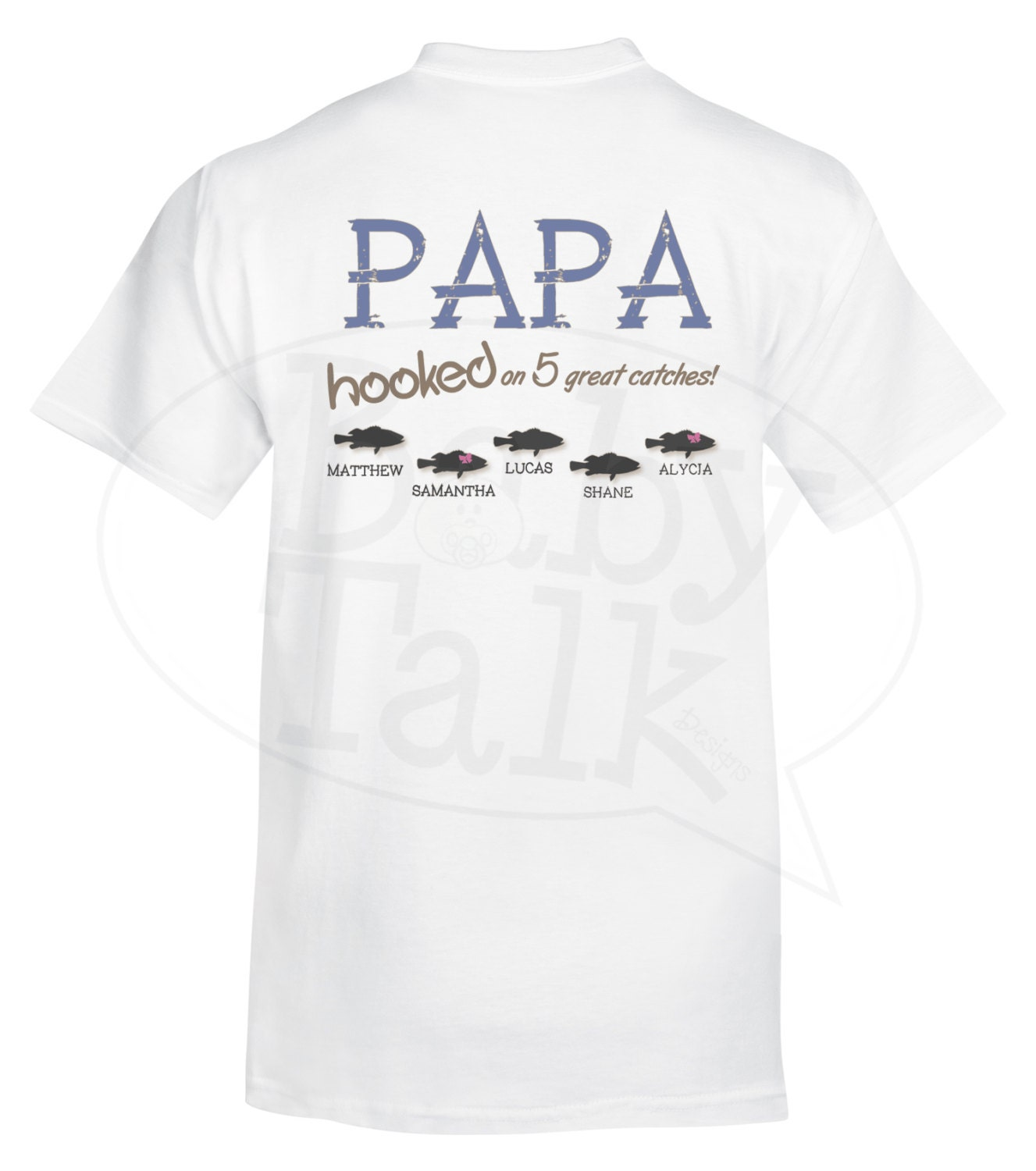 Dad or grandpa personalized fishing shirt hooked on great for Monogrammed fishing shirts