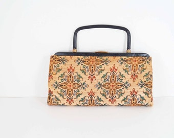 Vintage Garay Floral Tapestry Print Clutch