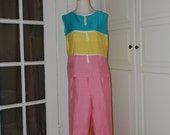 60s Mod, Cigarette Pants, Top, Outfit, Donkenny, Colorblock, Pink, Green, Yellow, NWOT, Size M