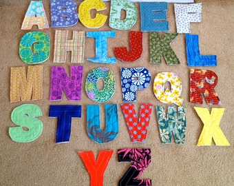Fabric Letters Rag Quilted Soft Fabric Alphabet Letters Set