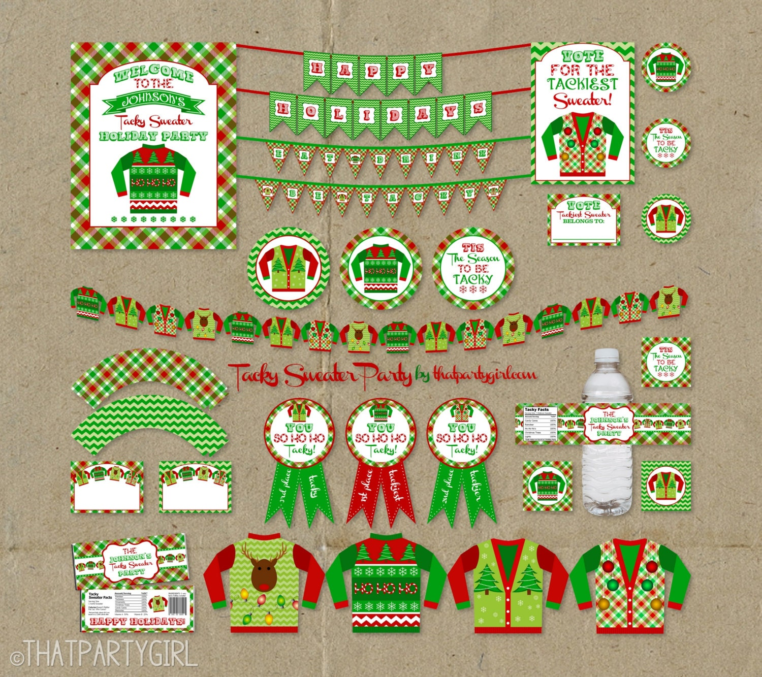 Ugly Christmas Party Sweaters: Ugly Sweater Party Package Holiday Decorations Favors Awards
