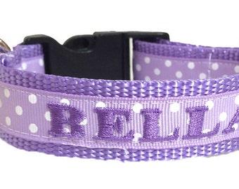 Custom Dog Collar - Lavender Swiss Dot Dog Collar