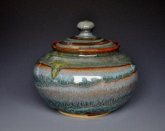 Pottery Jar Ceramic Lidded Jar Hand Made Pottery H