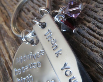 Thank you - Keychain - Custom Stamped by Rawkette
