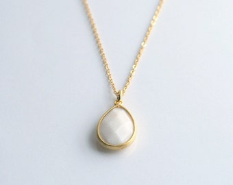 Long, white, pendant, layering, necklace - CLAIRE